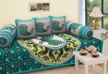 Jaipuri diwan set Attractive design for home 1 bedsheet 60x90 size 2 bokster cover and 3 cushions  1+2+3 1 kg weight Fast colours  499 /- only