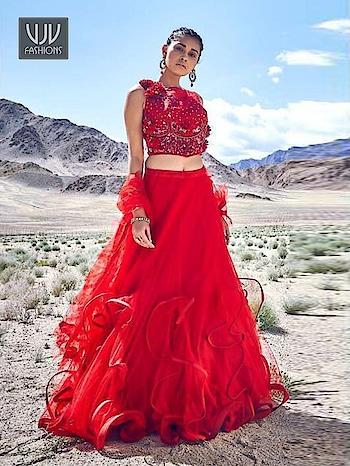 Buy Now @ https://bit.ly/38SKpeb  Lovely Red Color Fancy Fabric Designer Lehenga Choli  Fabric - Fancy Fabric  Product No 👉 VJV-TATH010  @ www.vjvfashions.com