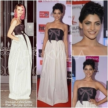 Yay or Nay : Saiyami Kher in Daniele Carlotta.Saiyami Kher attended the HT Most Stylish Awards in Mumbai last night wearing a Daniele Carlotta gown.Her strapless gown with a sparkly bow detail bodice and a striped skirt was cool and feminine at the same time. The fit was impeccable and the vertical stripes helped elongate her frame.Wearing one dangling dainty earring, she styled her look with an updo and a nude lip.