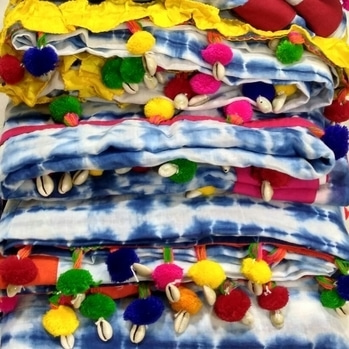 Indigo Shibori Sarees with colorful pompom lace #indigo #indigolove  #indigosaree #shibori #shiboridye #saree #handmade #onlineshopping #ethnic #designer #fashionforecast2017 #soroposo #pompoms