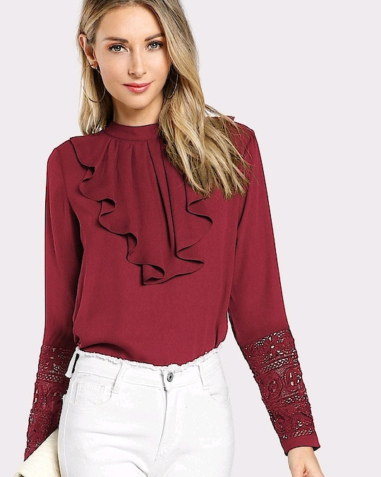 Fresh New Arrivals added to our uber cool collection! Buy this Flounce Neck Lace Cuff Top at just ₹1250.00 . | Cash on Delivery with Easy Returns & Exchanges || Up-to 100%* Money Back Guarantee! | Satisfaction Guaranteed | .  #romper #ootd #trending #topshop #vogue #party #newarrival #girls #jumpsuit #tops #dress #blouses #style #women #trendy #india #poshgrid #photooftheday #partywear #fashion