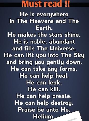 #He refers to helium.....😍🤗😘😂😂😂