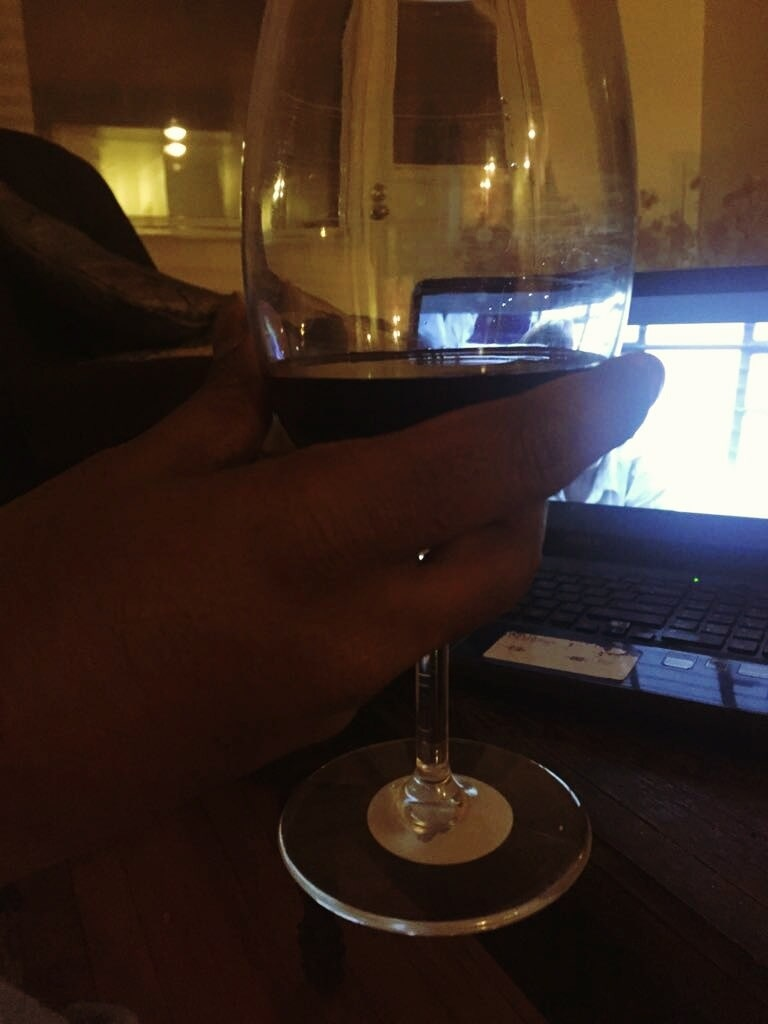 hubby#wine#lappy#fun#movie