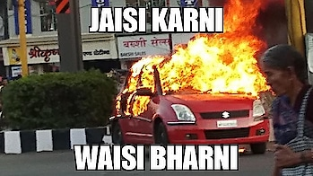 #KarniSena activists accidentally torch own member's car during protest against release of movie #Padmaavat (Source @IndiaToday) #KarniSenaViolence  To this I say