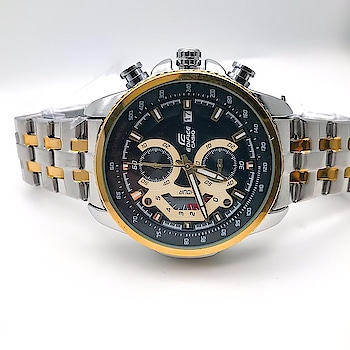 #Casio #Edifice-EFR558 #For Men #Specification  Working Chronograph, stop watch, date feature & sub dials fully steel based two tone Gold & silver case and bracelet. With Edifice Crown & Lock.  Dm or Whtspp to place an order   #casioedifice #casioedificewatches #casiowatch #casiowatches #watches #watchesofinstagram #watches⌚ #watchesformen #instawatches #instawatch #watchporn #like #follow #india #Ahmedabad #Gujarat #surat #rajkot #morbi