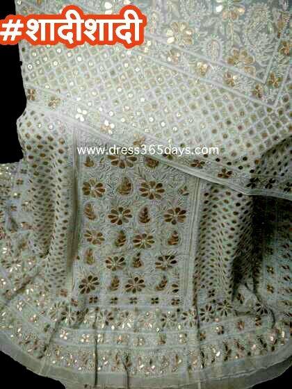 Wedding Lehenga in Chikankari #weddding #weddingdress #weddingcollection #bridalwear #chikankari #chikanwork #mukaish #kamdani #dress365days #punjabiweddings #whitelehenga #heavyworklehenga #heavyworklehenga #lehenga #wedding-lehenga  #shadishadi