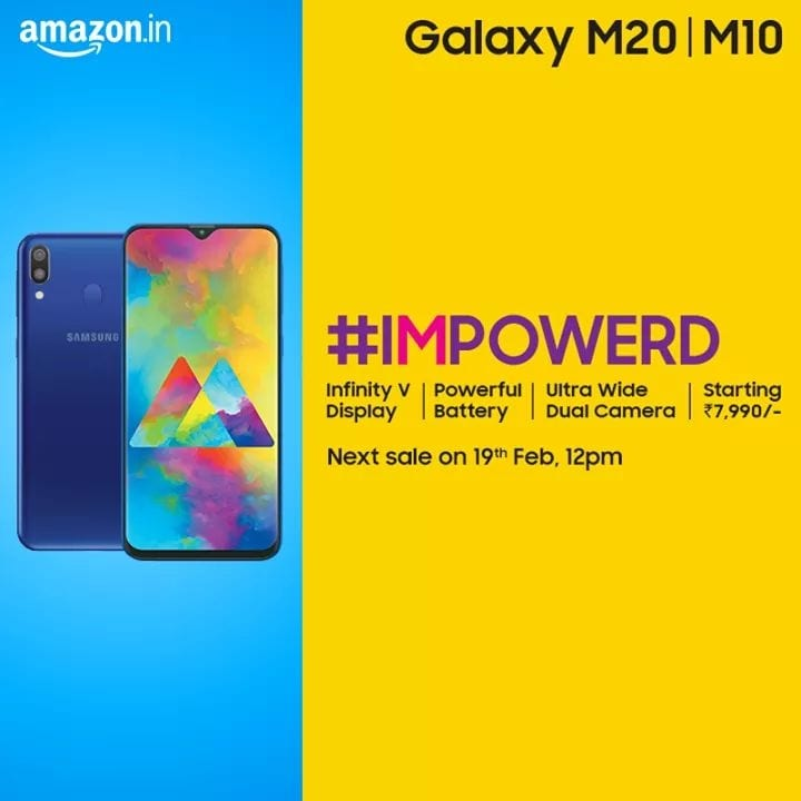 I'M back. The Samsung Galaxy M20 & M10 sale starts today at 12pm. Get Notified on Amazon http://amzn.to/2CllccT & Samsung India http://bit.ly/2CoPRGx   #IMPOWERD #SamsungM20 #SamsungM10