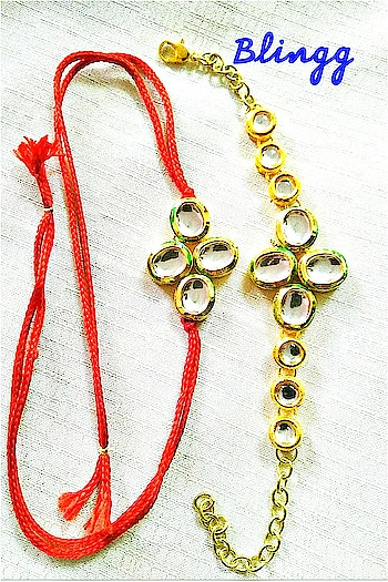 couple rakhi combo..pure kundan rakhi combo..sleek nd trendy fr ur bro nd bhabhi..to be worn fr a longer time as an accessory too..#rakhi #fashion #trend #festival #roposo-style #roposo-fashiondiaries #style #celebration #india #brothers #jewellery #