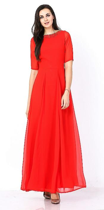 #women-fashion #women-apparels #women-clothing #girlsclothing #gownsonline #gownlove #indoshineindustries #indianmade #western-dress #redcolour #red## #reddress