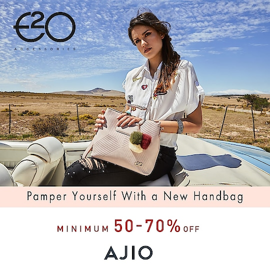 A little bit of self-pampering never anyone! Avail minimum 50-70% discount offers on E2O handbags at Ajio.com #e2o #e2ofashion #handbags #fashion #style