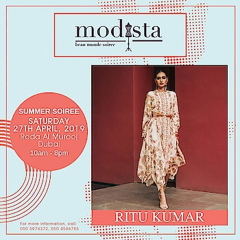 Liven up your wardrobe with creations born out of understated glamour and sheer elegance by Ritu Kumar. Come join us and get your hands on your favorite masterpiece on Saturday 27th April from 10AM to 8PM at Roda Al Murooj, Dubai. . . . #Modista #Modistadxb #Ritukumar #Savethedate #RodaAlMurooj #Dubai #lifestyle #exhibitions #premium #India #fashion #couture #homedecor #accessories #style #luxury #grandeur #fashionistas #underoneroof #modistarocks #bollywood #celebritydesigner