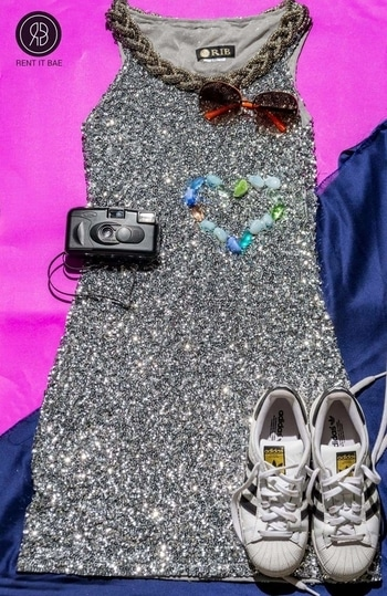 Wear your Saturday sequin dress with these super comfy sneakers and dance all night tonight! Don't forget to take pictures in your RENT IT BAE outfit. Rent now.  #RENTITBAE #rent #westerndress #designerwear #glamup #couture #instagram #instagood #instadaily #ootd #instalove #stylegram #fashioninspo #womenswear #ootdwomen #womenfashion #womenstyle #dagphoto #fashionstyle