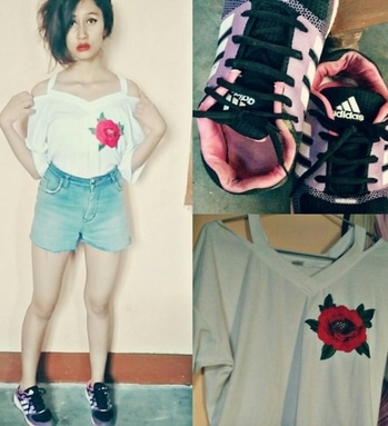 Whiteflowerpatchtop ❤ #addidas😘  #outfit
