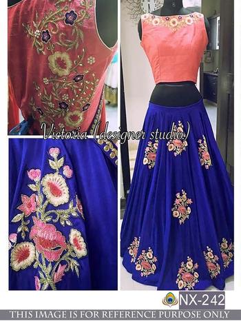Srk Blue Colour Georgette Embroidered Lehenga #lehenga #lehengacholi #bridal-lehenga