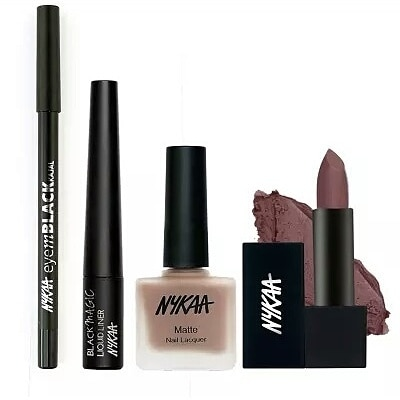 Nykaa's Meet For A Coffee Combo of Eyes, Nails & Lips includes a Black Gel Kajal & Magic Eyeliner, Brown Lipstick & Matte Nail Polish😍🙊 Price: Rs 1170 #onlineindia#onlineshoppingindia#brown#coffeemeetup#wooplr#nykaa#retail#nails#eyes#kajal#mystore