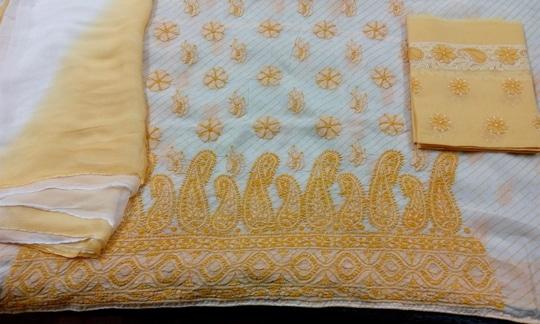 *_Exclusive lucknowi chikan hand embroidered suits_* *Embroidered unstitched kurta on lehariya pattern* *Embroidered bottom* *100%pure chiffon dupatta on lehariya pattern* *_PRICE 2500+SHIPPING_*