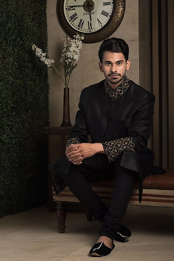 Celebrate this festive season with #RentAnAttire Festive Collection ✨  Rent this classic black raw silk sherwani with tinge of golden zari work!! Don't buy, but rent your look and be festive ready, logon to www.rentanattire.com or https://bit.ly/2qpMSHG  #diwali #festiveseason #festivecollection #ethnic #indianfashion #traditional #outfits #designeroutfits #indianfestivals #fashion #desistyle #fashiononrent #rent #styleonrent #wedding #weddingseason #weddings #brides #grooms #bridesmaids #groomsmen #indianweddings #wedmegood #2018