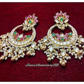 Oh So Luxe 💓 Pretty Chandbalies love 💓  Dm or whatsapp 7503577614 to order.  #royal #jewels #jewellery #art #heritage #handpainted #_jaipuri_jewels #beautiful #amazing #camera #shoot #shooting #photographers #picture #bridalwear #dubai #sharjah #bangkok #ontario #canada #punjab #chandigarh #punchkula #royalty #sardaar #sardaari #jatt #makeup #hudabeauty
