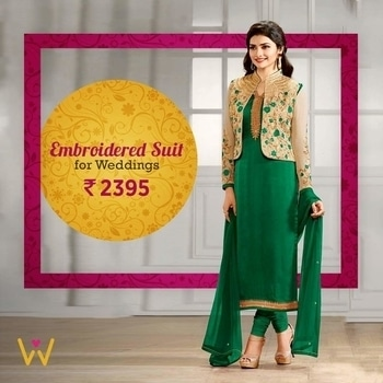 Jazz up for your sister's Mehndi ceremony with this Jacket Straight Suit from WedLista.com!  SHOP NOW: http://bit.ly/WL_SalwarSuits  #WedLista #FashionForWeddings