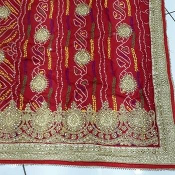 Bandhni handwork Saree gorjet  fan.  ready to ship whatsapp me 9724169555