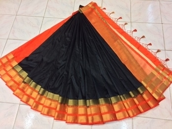 Pure raw silk fabric with contrast blouse  With tussles in pallu  Single color only