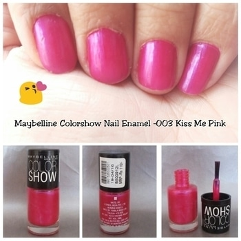 Maybelline Color Show Nail Enamel- 003 Kiss Me Pink Price: Rs 110 for 6 ml Packaging: It comes in a cute cylindrical glass packaging, sturdy enough. I like the brush as it covers almost the entire nail area in ine swipe. Color: It is beautiful electric pink color which looks stunning on nails. It has micro shimmer which does make it a lot more classy. Pigmentation: This cute little nail enamel has superb pigmentation. It dries so fast you'll be amazed! I got an opaque look within 2 coats of application. However 2 coats are not enough to prevent chipping, so I would recommend 3-4. Overall thoughts: I would definitely recommend all nailart fans to get this! It is suitable for everyone as this is a lovely shade! Pros: -Superb pigmentation -Micro shimmers make it even more beautiful -Nice brush -Dries very quickly Cons -2 coats started chipping from the next day My rating: 9/10 Follow me for interesting tips and reviews #pikreview#pikreview_official #showmesomelove #mumbaiblogger#mumbai #blogger#indianblogger#beautyblog #make #makeup #beautiful #instablog #happy#instagood #style #fashion #love  #photooftheday #amazing #smile #follow4follow #followme #nailart