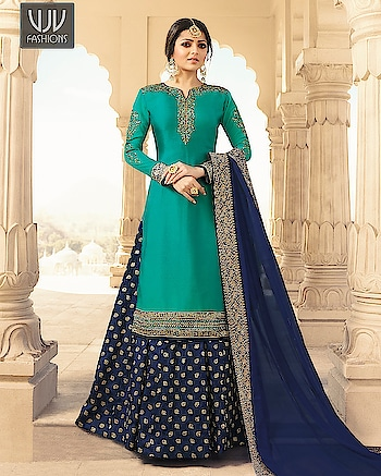 Buy Now @ http://bit.ly/VJV-KASH3308  Unique Teal Georgette Embroidery Lehenga Style Suit  Fabric- Georgette, Satin  Product No 👉  VJV-KASH3308   @ www.vjvfashions.