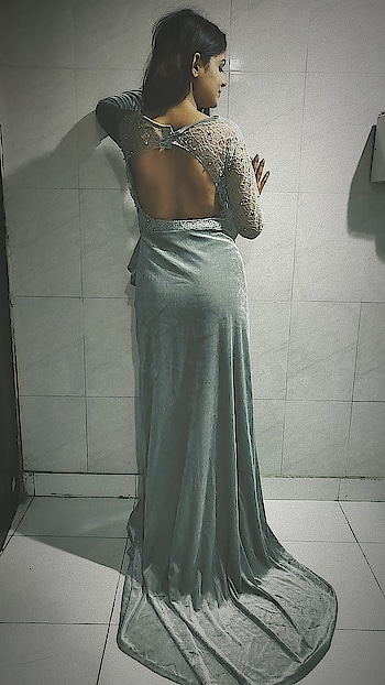 #backless #gown #evening-gown #greydress #longgown #designer-wear