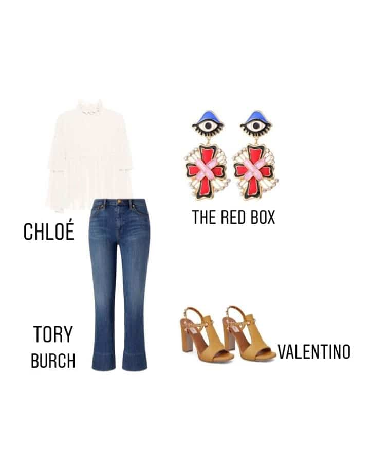 #StyleItSaturday ☀Summer is all about wearing comfy classics. The white ruffled blouse by CHLOE Paired with TORY BURCH bell bottoms And VALENTINO'S Tan Block heels makes for a casual chic outfit. The Red Box's Enamelled Eyes & Cross Earrings Add a Pop of colour and fun to the whole ensemble! . . . . . #theredbox #crazysexycool #casual #styleit #saturday #summer #sass #summerstyle #bellbottom #earrings #earringsoftheday #blockheels #toryburch #valentino #white #fashionista #shopaholic #fashionbloggers #fashion #white #styleicon #getthelook #lookbook #chloe #accessories #instafashion #instastyle #instagram #instagrammers