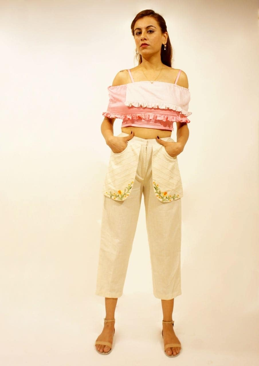 """""""THE BLOOMING BUD"""" @poonamthacker wearing handcrafted flap pants combined with the two tone off shoulder crop top 🌷 Going out for a brunch..? Pop this up..!!😍 #pastels #thebloomingbud2017 #flappants #croptops #allseason #brunch #pretoporter #dresses #indiancouture #mumbai #weardifferent #bedifferent #collection #daffodils #newdelhi #loveall"""