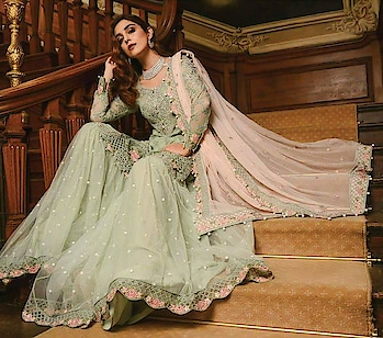 """*🌹#MARIA.#B* (pista green) *""""🎉wedding edition🎉*  👉Fully embroidered sequence chiffon front 👉Embroidered sequence chiffon sleeves 👉Plain chiffon back 👉Fully embroidered 4 side emb sequence with pearl latkan border chiffon dupatta 👉Malai crepe bottom  ♦Embroidered sequence patch for neck ♦Embroidered sequence patch for both sleeves ♦Embroidered sequence patch border for sleeves ♦Embroidered cutwork,pearls,sequence patch daman front ♦Embroidered sequence cutwork,pearls,sequence daman back ♦Embroidered sequence net bottom ghera ♦Embroidered sequence patch for bottom ghera *💍Latkan pearls for daman* *🎁Special Box Packing*  Pics👇👇👇👇 Whatsapp on +918879845751. +919029093762. +919867835870."""