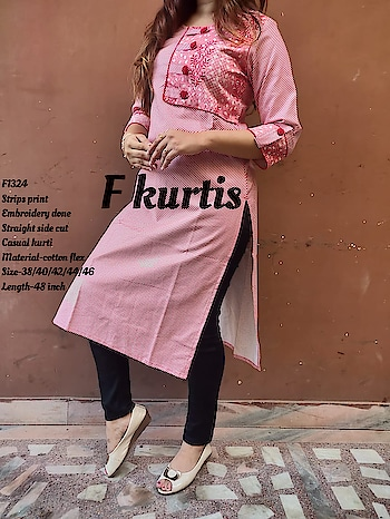 *F1324*  _*Strips print Embroidery done Straight side cut Casual kurti_*  Material-cotton flex Size-38/40/42/44/46 Length-48 inch Price-₹675 free ship  Ready to despatch 💕     *F1325, F1326, F1327*  _*Beautiful long gown with Gotta Detailing _*  Material-rayon slub Size-38/40/42/44 Length-50 inch Price-₹780 free ship   Ready to despatch 💕    *F968*  _*Beautiful printed High neck cotton gown With gotta detailing _*  Material- cotton Size-38/40/42/44 Length-52 inch Original Price-₹875 free ship  Sale price-750 free ship Ready to despatch 💕   Direct Message us or whatsapp on 9867764381   Follow us 👉🏻on FB:  *https://www.facebook.com/Stylista-Fashionss-2137660539847810/*  #stylistafashionss #style #fashion #trend #readysuit #dressmaterial #ethnic #western #fashionjewellery  #handbags #kurti #botttomwear #onestop #shopping #saree #readymadeblouse #lookstylish #bethefashion #shopstylistafashionss #onlineshopping #bestquality #bestprice #bestbuy #swag