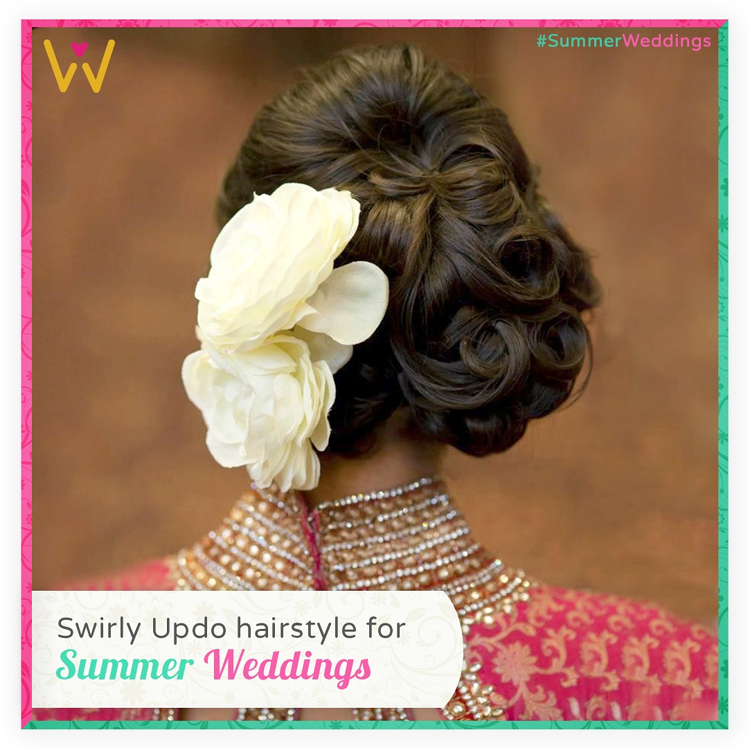 Try this swirly updo to stay breeze this #SummerWeddings season.  Find your outfit from WedLista.com to pair with this pretty hairstyle  #WedLista #FashionforWeddings #SummerWeddings