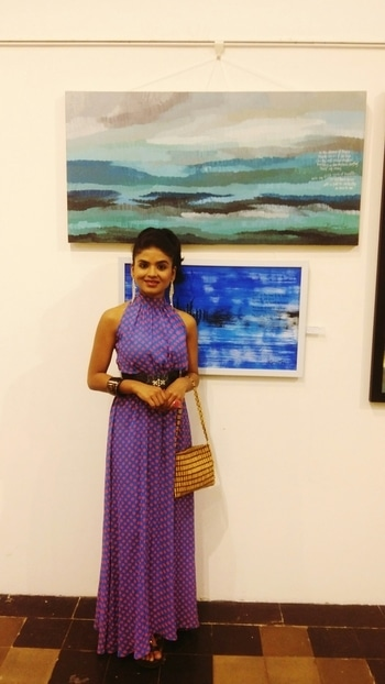 with my paintings at my exhibition at Kalaghoda #rashmipitre #canvaspaintings #curators #collectors #ArtAroundUs #artlover #artbeat #artattack #artforsale #paintings #rashmipitreart