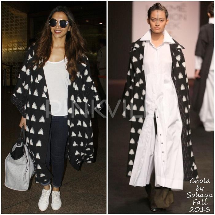 Yay or Nay : Deepika Padukone in Chola by Sohaya. #airportstyle  Deepika Padukone was snapped at Mumbai airport. She layered her white tshirt and jeans combo with a jacket from Chola by Sohaya. White sneakers and a Chanel bag rounded her look out. Your thoughts on her travel style?