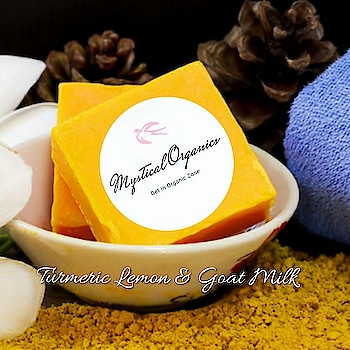 Yellow Soap   Turmeric Lemon & Goat Milk  Turmeric Is an antiseptic and anti-inflammatory agent. Due to its anti-aging and anti-microbial qualities, it is widely used for cosmetic purposes. It is used in many sunscreens. A brightening Ayurvedic face and body soap with the essence of Turmeric that lightens complexion, reduces pigmentation and protects the skin.  Lemon Rich in Vitamin C, Lemon helps lighten your skin tone and fight age spots and wrinkles. Combined with Tulsi that helps lighten dark spots, this is a perfect blend to lighten your skin's complexion. Glycerin and essential oils will give your skin the perfect finish with a lasting glow.  Goat Milk is known to be a great natural cleanser. Dehydrated, dry and parched skin gets an instantaneous respite by use of goal milk extracts. Having excellent emollient properties, Goat Milk is an effective moisturizer that nourishes and cares for the skin like no other making it soft, supple and beautiful. This Skin Whitening Therapy containing Goat Milk seeps deep in the skin's layers and hydrates the skin without clogging the pores. Goat Milk extracts contain alpha-hydroxy acids that rejuvenate the skin by exfoliation which thereby simulates the regeneration of new skin cells. With regular application, the skin becomes velvety soft and a rosy perfume accompanies you always.  Can be used on both face and body. Wet skin with warm water, gently apply the soap to create a lather and rinse clean. Store in a cool, dry place to avoid quick melting of the soap.  Ingredients Turmeric, goat milk, lemon, tulsi, beewax, soap base glycerin, Coconut oil.  Weight 50 gms  Price : 55/- Shipping extra   IMPORTANT NOTE: NOT TESTED ON ANY ANIMALS 100% CHEMICAL FREE  100% HERBAL ORGANIC NO ARTIFICAL COLOR OR FRAGRANCE USED SUITABLE FOR ALL CHILDRENS, MENS & WOMENS SUITABLE FOR ALL TYPES OF SKIN  NO COD  PAYMENT MODE- BANK TRANSFER, BHIM DELIVERY 5-7 WORKING DAYS UPON PAYMENT CONFIRMATION.  CLICK THE BELOW LINK AND PLACE YOUR ORDER. http: