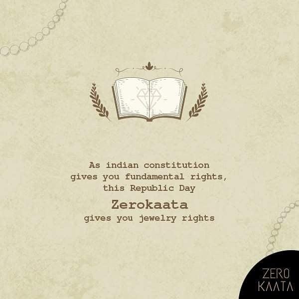 "THIS REPUBLIC DAY :   ZEROKAATA IS THE ONLY JEWELRY BRAND THAT GIVES YOU  "" JEWELRY RIGHTS ""  #zerokaata #zk #fashion #style #jewelrybloger #jewelryshow #jewelrybrand #jewelrystyle #jewelryofig #jewelryporn #jewelryshop #jewelrylove #jewelryswag #jewelrygoals #jewelryonetsy #jewelrysale #jewelrylovers #jewelrygifts #wedding #Weddingjewelry #earringsfashion #IFN27 #UDGAM"