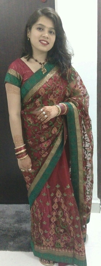 """""""Always dress like you're going to see your worst enemy.""""  #mommy's #Saree #firsttime #wear  #for #wedding"""