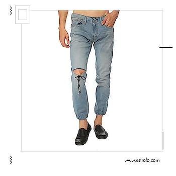 Look Extremely Sporty And Casual.  Make It Yours at https://goo.gl/NMZud  #estrolofashion #mensdenim #denimjeans #casuals #trendy #menswear  #stylishmen #designercollection #roposobazaar #joggers #joggerpants #shoponline #onlineshoppinginindia