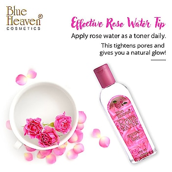 Use this handy Rose water tip to keep your skin toned and fresh.  Get all the skin care benefits with our Rose water. #RoseWater #SkinCare #Makeup #MakeupAndMore #Cosmetics #Looks #BlueHeavenCosmetics #BlueHeaven