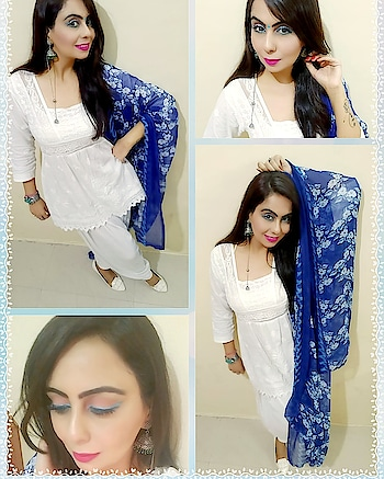 DAY6..NAVRATRI LOOK..COLOUR OF THE DAY. ..WHITE💗 Keep it completely white from top to bottom, only give a hint of blue in dupatta n eyemakeup.  Bindi or not , what suits better? ? day #navratri2018 #coloroftheday #white #whiteout #whitebottoms #whitefootware #bluedupatta #blueeyeliner #brightpinklips #jhumkalove #bluebandi #stylediaries #fashiontrends #sleekhair #indianfashionblogger #ethnicwear #indianstyleblogger #mumbaiblogger