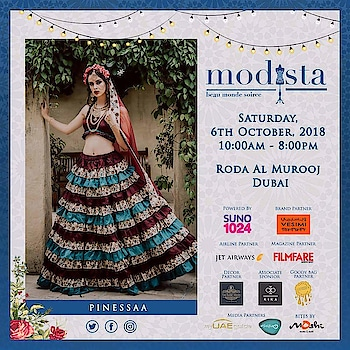 Glam up your festive quotient with stunning handcrafted ensembles by Pinessaa At Modista, Saturday, 6th October 2018, Roda Al Murooj, Dubai #pinessaa #pinessaabyNehaandShivangi #pret #couture #diffusion #festivewear #destinationwedding #eveningwear #festivelook #Modista #modistadxb #fashionexpo #exhibition #fashion #bespoke #handcrafted #designers #indiandesigners #internationaldesigners #igstyle #igfashion #dubai