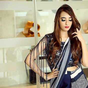 We are digging our concept saree on the gorgeous @mehakdhawan @mehak_dhawan19  Tassels, bling and stripes comes together and create magic @labelnityabajaj Styled by @skavya_official Photography @sunnybeniwalphotography @starbeniwal92 #labelnityabajaj #NityaBajaj #stripes #bling #crytsals #saree #designersaree #sari #pantsaree Get yours at #NityaBajaj 37A shahpurjat ground floor #newdelhi