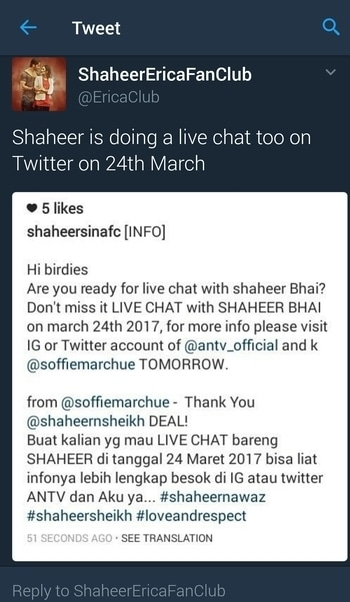 #ShaheerSheikh is doing a live chat too on Twitter on 24th March be ready