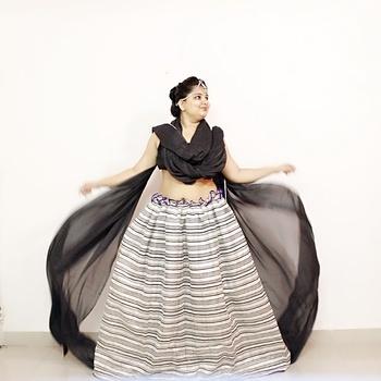 Look for the festive season#Dushera#stylish #fabulous #fashion #fashionable #stylishwear#keepitstylish#myfashionconfession#fashionstylist#fashionblogger#puneblogger #pune#punefashion#PFWstyle#ethnic#desi#indowestern#indian wear#skirt#lehanga#black#blackdress#navratri#navratrilook