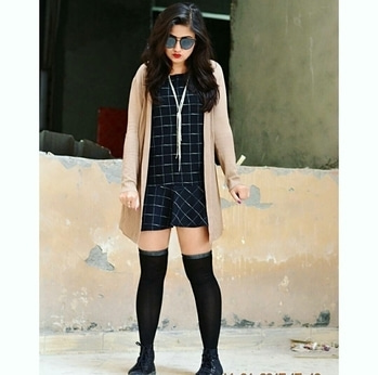 Wear your short dresses with thigh high socks to spice up your winter wardrobe🎆Not just they keep you warm but also adds an *oomph* factor to your outfit⚡  #ootd #look #lookbook #wiw #potd #blogpost #outfit #ideas #fashion #fashionlover #fashionist #fblogger #style #styleinspiration #styleblogger #styleoftheday #onfleek #trends #love #like #follow #theblingstory #staystylish #stayinvogue✌💙😘🌟👄📷