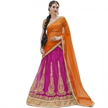 Buy this fascinating pink & orange lehenga from Vasu Saree to look like a princess at your sister's wedding.  COD Available|Free Shipping| Easy Returns  Shop Now:Product Code: Shringar-30001  Price:Rs. 1,710.00  #WedLista #FashionForWeddings