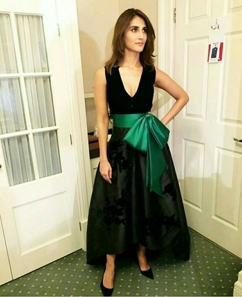 Vani Kapoor in velvet green dress for Befikre promotions