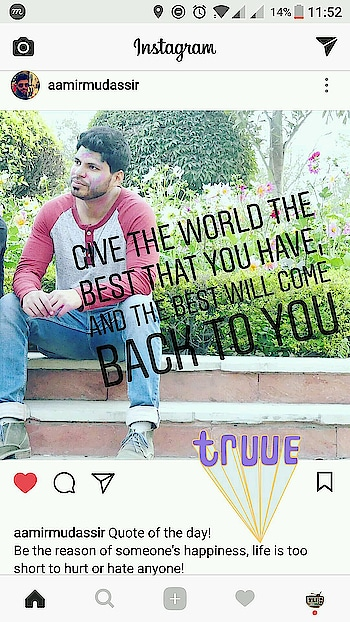 Quote of the day! Be the reason of someone's happiness, life is too short to hurt or hate anyone!  Join me on Instagram Snapchat #Twitter #Roposo @AamirMudassir #Facebook @AamirVlogger #YouTube (The Liberal Indian)  #AamirMudassir #delhiyoutuber  #viner  #prankster  #Entertanier #TheLiberalIndian #TLI #AamirVlogger #FitAamirKhanVlogs #delhites  #delhigram  #indianvines  #indiagram #indianyoutuber  #vines  #fashionvloggee  #fitness  #fitnessvlogs  #AamirTLI #AamirTheLiberalIndian #happyholi  #holi  #holicolors  #quotes  #quotes #quoteoftheday   @zara @zaraindiaofficial @zaraofficial_page @rayban @lorealusa @lorealindia @lorealmakeup @lorealpro @lorealhair @lorealskin @loreal_es @levis @levis_in @levis_ar @levis_japan @manishmalhotra05 @mmalhotraworld @gucci @louisvuitton