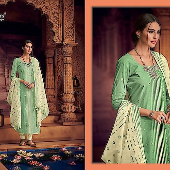 """🎀New Arrival🎀 Brand - Shehnaz Arts Catlogue - *POSE*  Fabric Details -  👉🏻Top - Pure lawn block Print with handwork ( khatli work) 👉🏻Bottom - Semilawn 👉🏻Dupatta - Pure Cotton  Malmal Print ( box pallu Dupatta ) 👉🏻 Unstitched Dress Material   *Singles @ Rs 1775/-*  ✅Dispatching in 1-2 days... Pre-booking Open !! Book ur orders fast !! 💯% orignal product✅ 👉Prices inclusive of GST Tax 👉Sorry but No COD available 👉Payment modes - cash/cheque deposit// netbanking// creditcard// debit card payments/ western union / paypal/ payumoney/paytm 👉Free 🆓 delivery in India 👉Worldwide shipping available( Feel free to ask us shipping rates for your country) 👉Stitching as per measurement ( Tailoring) available with us. 👉To order whatsapp or Imo on 0091-9004659896 👉Call/sms/viber/tango on 00971-557204351 👉Skype Id - rooshfab 👉Follow us on www.facebook.com/olayla123 👉Instagram - olayla online boutique 👉For How to order kindly check on https://www.facebook.com/notes/o-layla-online-boutique/ 👉how-to-book-your-order-with-o-layla-online-boutique-/545844065509296  👉For return policies kindly check on  https://www.facebook.com/notes/o-layla-online-boutique/returns-and-refund-policy-with-o-layla-online-boutique/868169839943382 👉Follow us on http://www.roposo.com/@olayla 👉To register for regular collection updates on whatsapp, drop us a whatsapp message on 0091-9004659896 with your name and city and text - """"Add Me"""""""